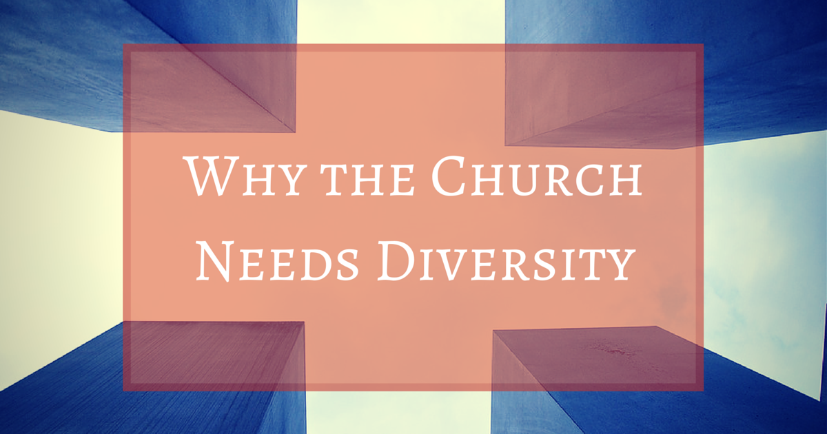 Why the Church Needs Diversity, four buildings with light, orange square surrounding text, the church and body of Christ is diverse