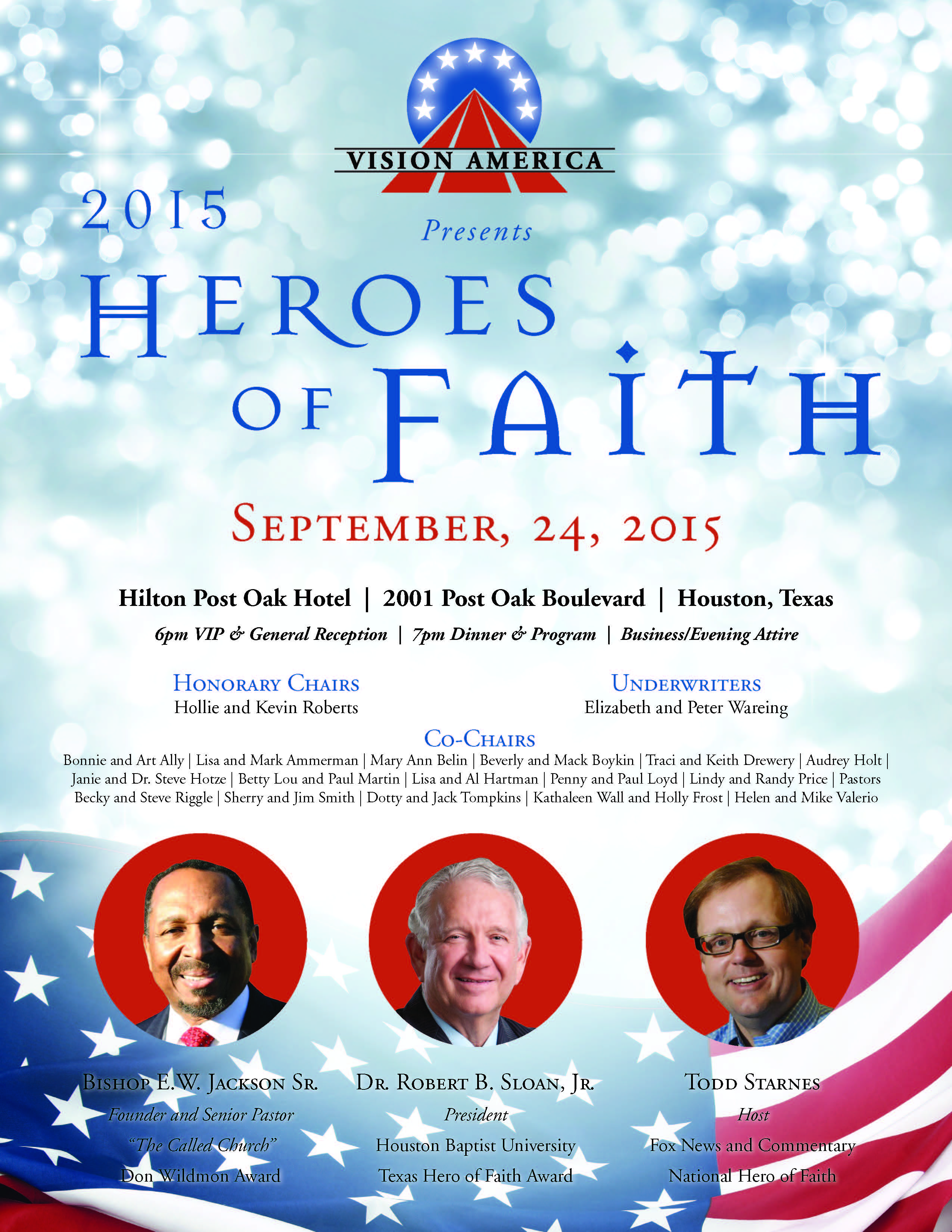 2015 Heroes of Faith, Vision America, September 24, 2015, Hilton Post Oak Hotel, Houston, Texas, Bishop E.W. Jackson, Dr. Robert B. Sloan, Jr., and Todd Starnes with photos against a red background